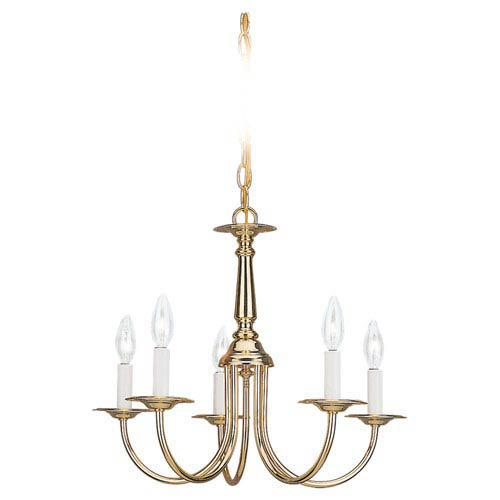 Polished Brass Five-Light Chandelier