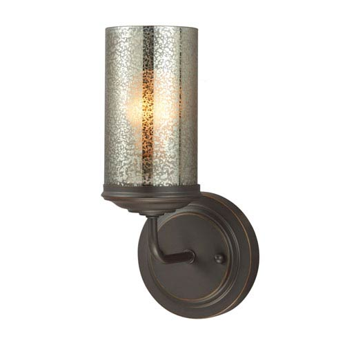 Sfera Autumn Bronze One Light Bathroom Wall Sconce with Mercury Glass