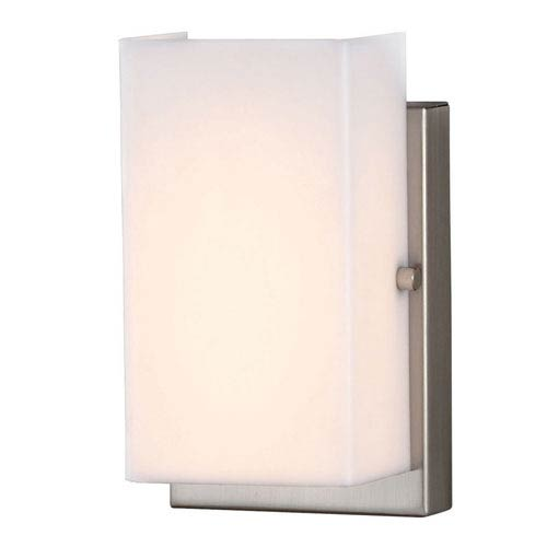 Sea Gull Lighting Vandeventer Brushed Nickel LED Vertical Wall Sconce with Rectangular White Acrylic Diffuser