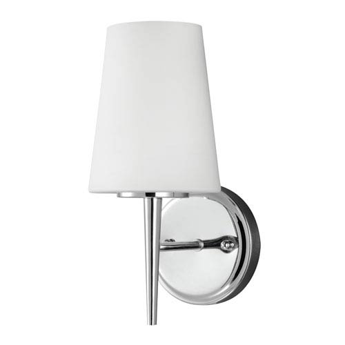 Driscoll Chrome One Light Bathroom Wall Sconce with Etched Glass Painted White Inside