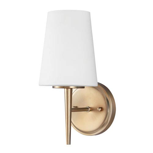 Sea Gull Lighting Driscoll Satin Bronze One Light Bathroom Wall Sconce with Etched Glass Painted White Inside
