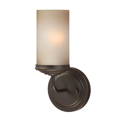 Sea Gull Lighting Sfera Autumn Bronze One Light Bathroom Wall Sconce with Smokey Amber Glass