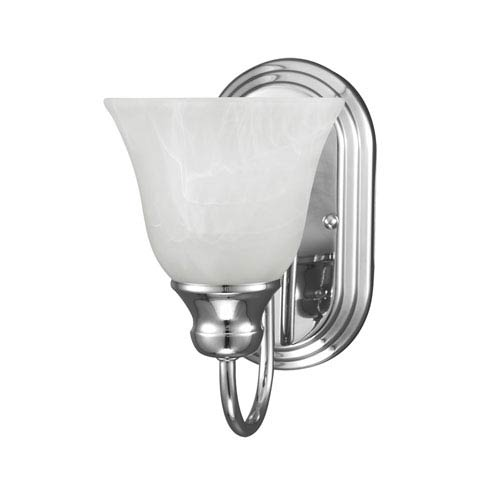 Sea Gull Lighting Windgate Chrome One Light Bathroom Wall Sconce with White Alabaster Glass