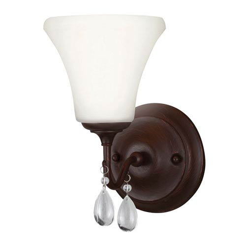West Town Burnt Sienna One-Light Wall Sconce  with Etched Glass Painted White Inside