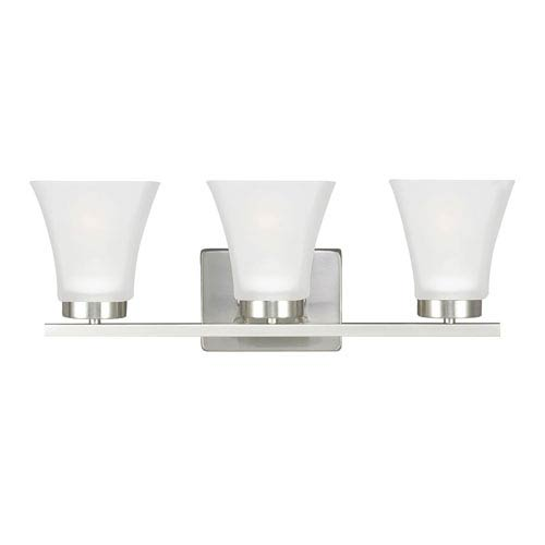 Sea Gull Lighting Bayfield Brushed Nickel Three-Light  Bath Vanity with Satin Etched Glass