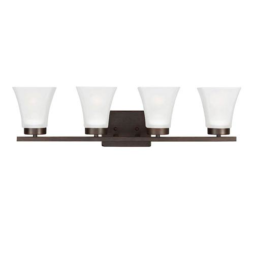 Sea Gull Lighting Bayfield Burnt Sienna Four-Light  Bath Vanity with Satin Etched Glass