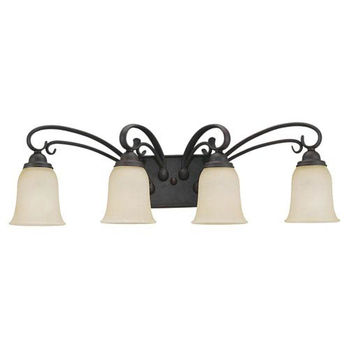 Sea Gull Lighting Del Prato Chestnut Bronze Four-Light Wall Mounted Bath Fixture