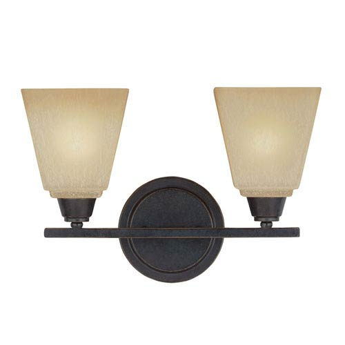 Sea Gull Lighting Parkfield Flemish Bronze Two-Light  Bath Vanity with Creme Parchment Glass