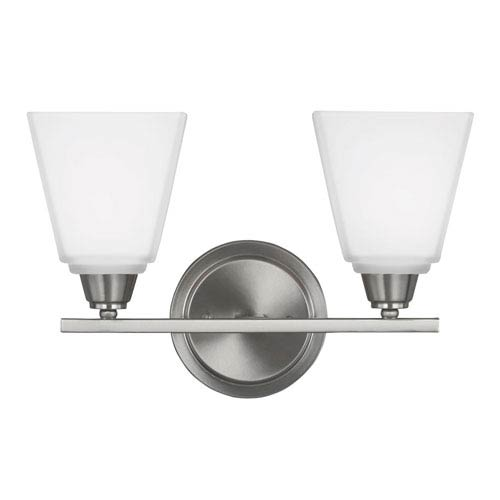 Sea Gull Lighting Parkfield Brushed Nickel Two-Light  Bath Vanity with Etched Glass
