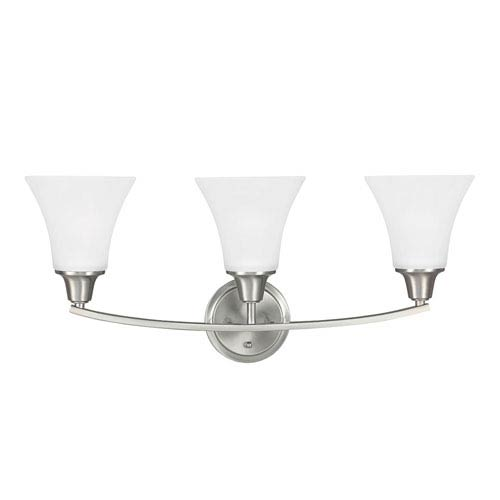 Sea Gull Lighting Metcalf Brushed Nickel Three-Light  Bath Vanity with Satin Etched Glass
