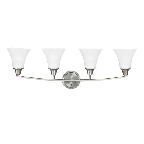 Metcalf Brushed Nickel Four-Light  Bath Vanity with Satin Etched Glass