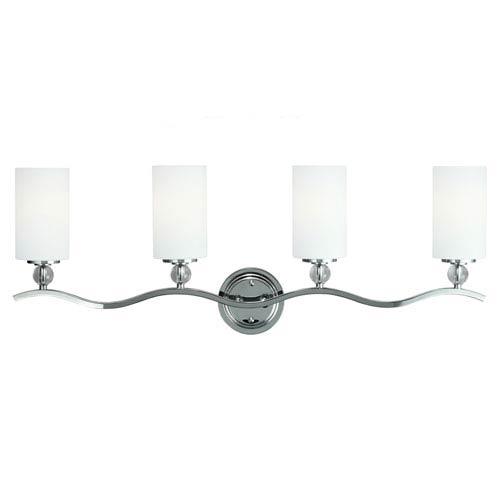 Englehorn Chrome and Optic Crystal 12.75-Inch Four Light Bathroom Vanity Fixture