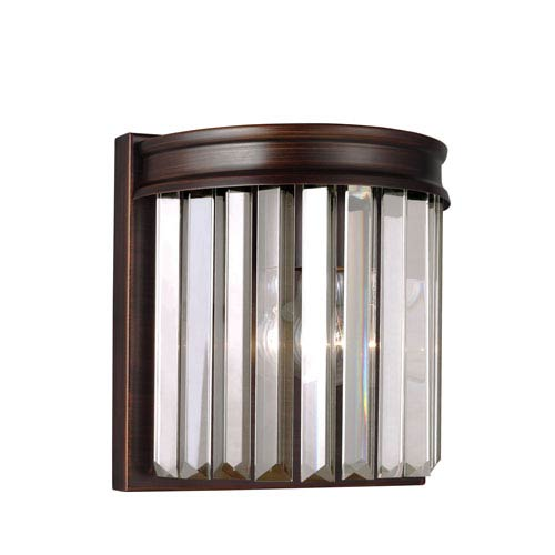 Sea Gull Lighting Carondelet Burnt Sienna One-Light Wall Sconce with Prismatic Glass Crystal