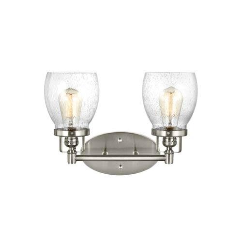 Belton Brushed Nickel 15-Inch Two-Light Bath Light
