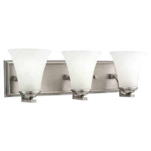 Somerton Antique Brushed Nickel Energy Star LED Three Light Wall Bath Bar Vanity
