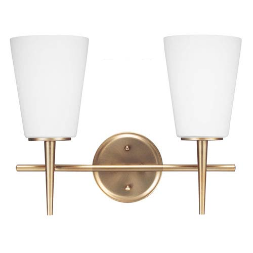 Sea Gull Lighting Driscoll Satin Bronze Two Light Bathroom Vanity Fixture with Etched Glass Painted White Inside