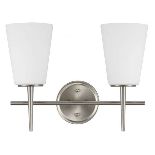 Sea Gull Lighting Driscoll Brushed Nickel Two Light Bathroom Vanity Fixture with Etched Glass Painted White Inside