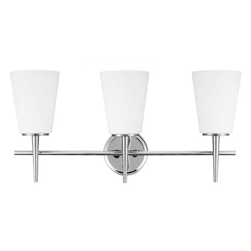 Driscoll Chrome Three Light Bathroom Vanity Fixture with Etched Glass Painted White Inside
