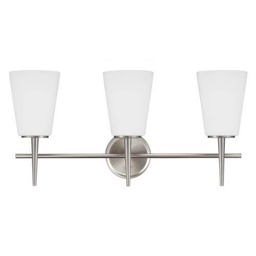 Driscoll Brushed Nickel 12-Inch Three Light Bathroom Vanity Fixture