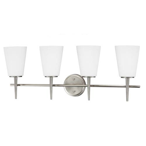 Sea Gull Lighting Driscoll Brushed Nickel 11.75-Inch Four Light Bathroom Vanity Fixture