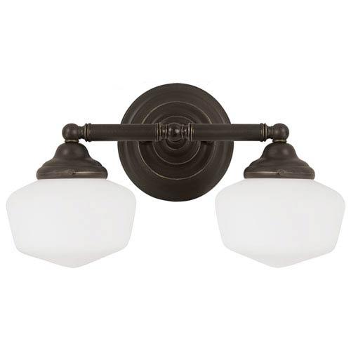 Sea Gull Lighting Academy Heirloom Bronze Two Light Bathroom Vanity Fixture with Satin White Schoolhouse Glass