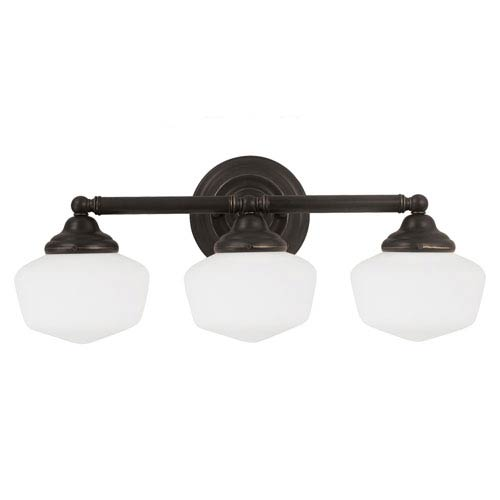 Academy Heirloom Bronze Three Light Bathroom Vanity Fixture with Satin White Schoolhouse Glass