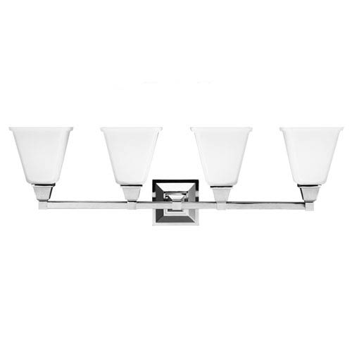 Sea Gull Lighting Denhelm Chrome Four Light Bathroom Vanity Fixture with Etched Glass Painted White Inside