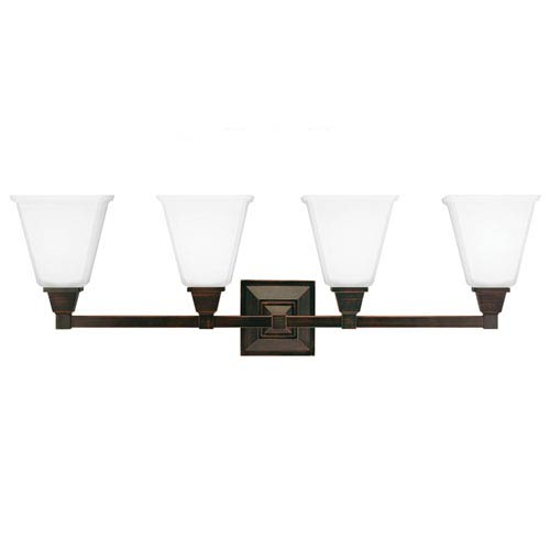 Sea Gull Lighting Denhelm Burnt Sienna 10-Inch Four Light Bathroom Vanity Fixture