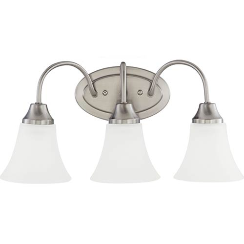 Sea Gull Lighting Holman Brushed Nickel Three-Light Wall Bath Vanity with Satin Etched Glass