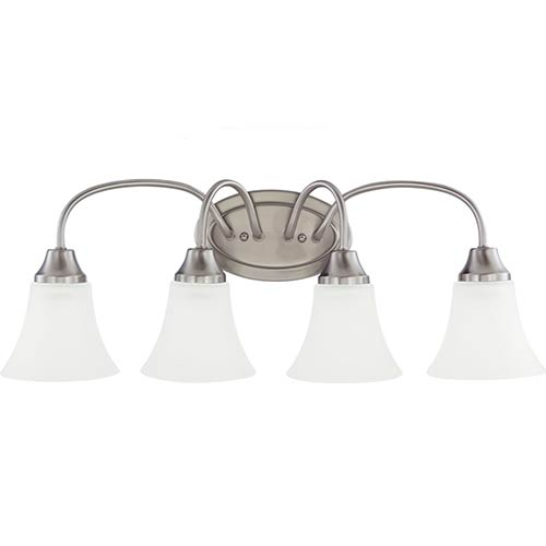 Holman Brushed Nickel Four-Light Wall Bath Vanity with Satin Etched Glass