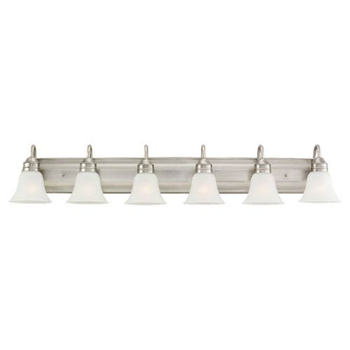 Sea Gull Lighting Gladstone Six-Light Antique Brushed Nickel Bath Light with Satin Etched Glass