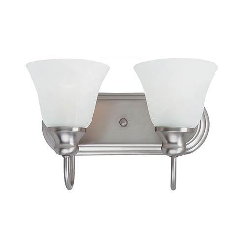 Sea Gull Lighting Windgate Brushed Nickel Two-Light Wall Mounted Bath Fixture