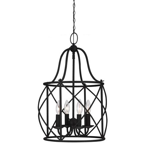 Sea Gull Lighting Turbinio Blacksmith 21.5-Inch Four Light Hall Foyer Pendant