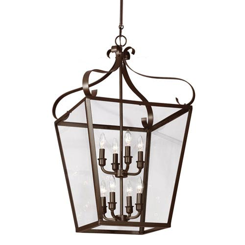 Sea Gull Lighting Lockheart Heirloom Bronze Eight Light Hall Foyer Lantern with Clear Glass