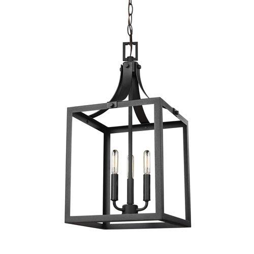 Sea Gull Lighting Labette Black 12-Inch Three-Light Hall Foyer