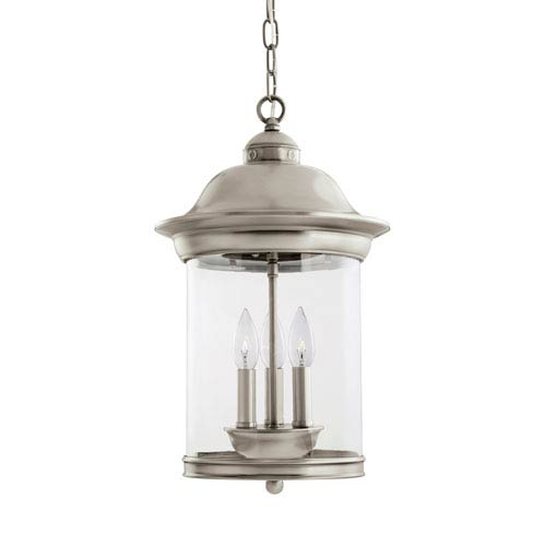 Hermitage Antique Brushed Nickel 11-Inch Energy Star Three-Light Outdoor Pendant