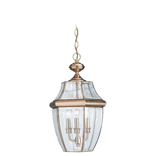 Curved Beveled Brass Outdoor Hanging Lantern