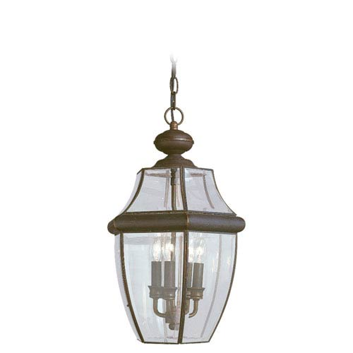 Curved Beveled Bronze Outdoor Hanging Pendant