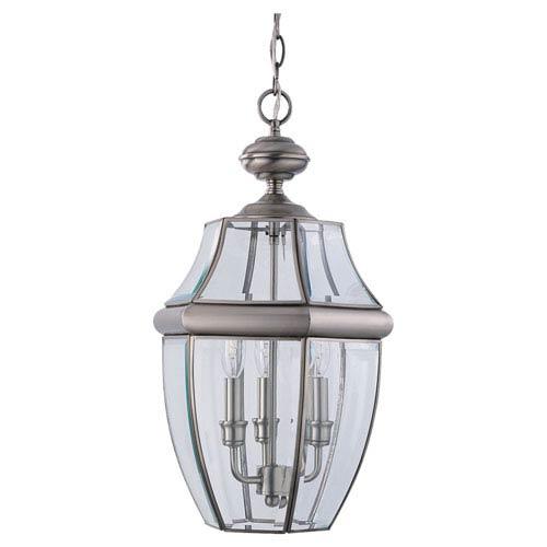Curved Beveled Nickel Outdoor Hanging Lantern