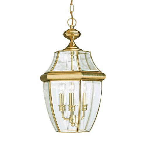 Lancaster Polished Brass 12-Inch Energy Star Three-Light Outdoor Pendant