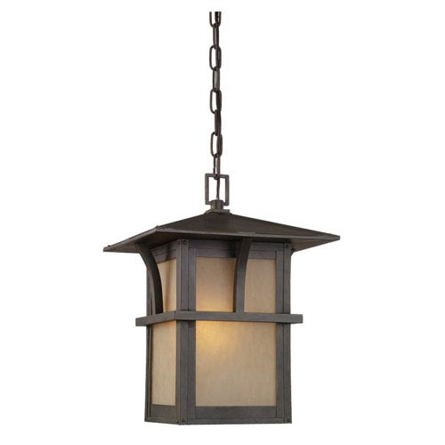 Medford Lakes One-Light Statuary Bronze Outdoor Pendant with Etched Hammered with Light AmberGlass