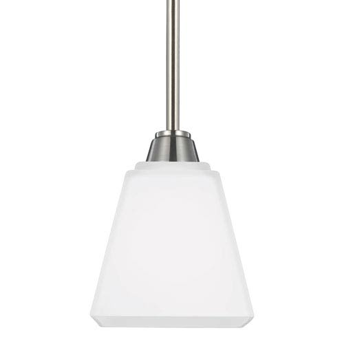 Sea Gull Lighting Parkfield Brushed Nickel One-Light Mini Pendant with Etched Glass Painted White Inside