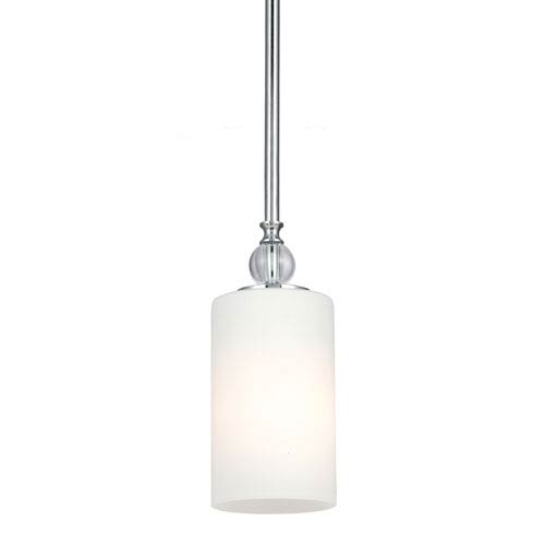 Englehorn Chrome and Optic Crystal One Light Mini-Pendant with Etched Glass Painted White Inside