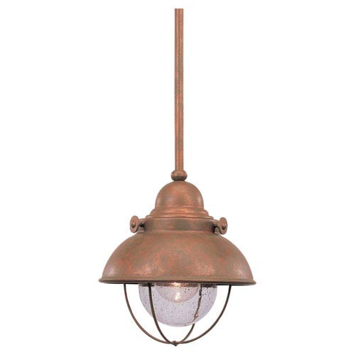 Sebring Weathered Copper LED Mini Pendant with Clear Seeded Glass  sc 1 st  Bellacor & Copper Mini Pendant Lighting Free Shipping | Bellacor
