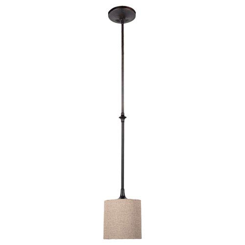 Stirling Burnt Sienna One-Light Mini-Pendant with Beige Linen Shade and Satin Etched Diffuser