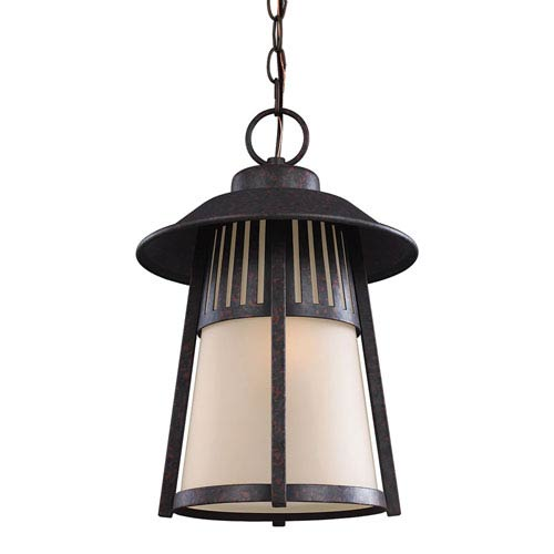 Sea Gull Lighting Hamilton Heights Oxford Bronze One-Light Outdoor Pendant with Smokey Parchment Glass