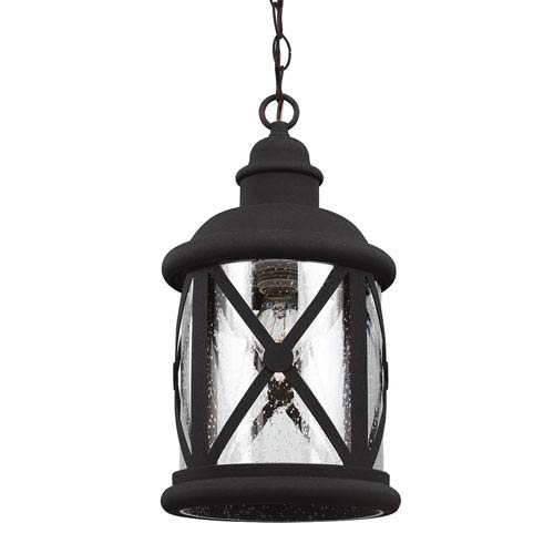 Sea Gull Lighting Lakeview Black One-Light Outdoor Pendant with Clear Seeded Glass