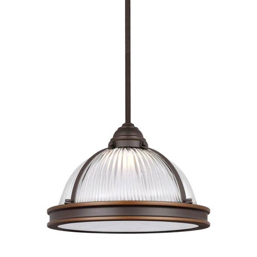 Sea Gull Lighting Pratt Street Autumn Bronze 13 Inch Led Pendant With Clear Ribbed Gl