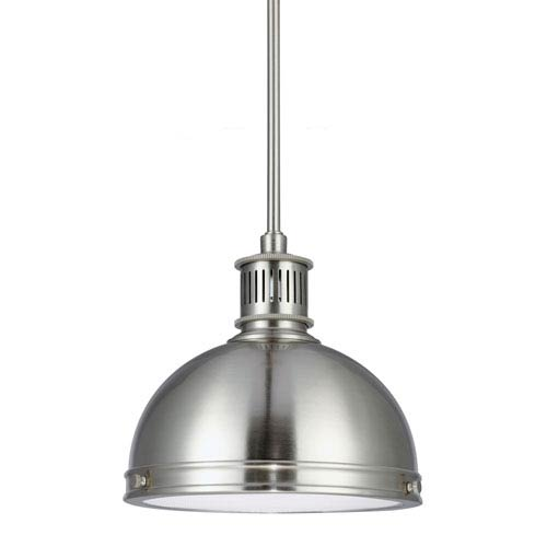 Sea Gull Lighting Pratt Street Metal Brushed Nickel One Light Pendant with with Glass Diffuser