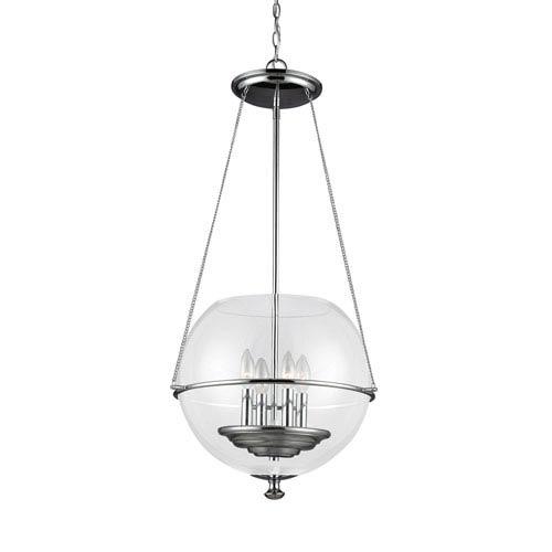 Sea Gull Lighting Havenwood Chrome Four-Light  Medium Pendant with Clear Glass